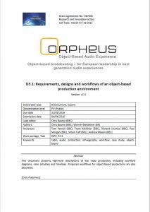 Orpheus report D3.1 cover